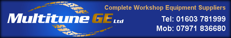 Multitune Garage Equipment - Complete workshop equipment suppliers.  Contact Tel: 01603 781999, Fax: 07971 836680